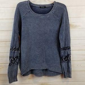 Blu Pepper blue mineral wash crochet sweater